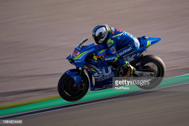 Alex Rins of Spain and Team Suzuki Ecstar during the test of the new MotoGP season 2019 at Ricardo Tormo Circuit in Valencia Spain on 21th Nov 2018