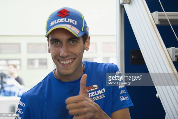 Alex Rins of Spain and Team Suzuki ECSTAR greets at the end of the testing day during the MotoGp Tests In Brno at Brno Circuit on August 7 2017 in...