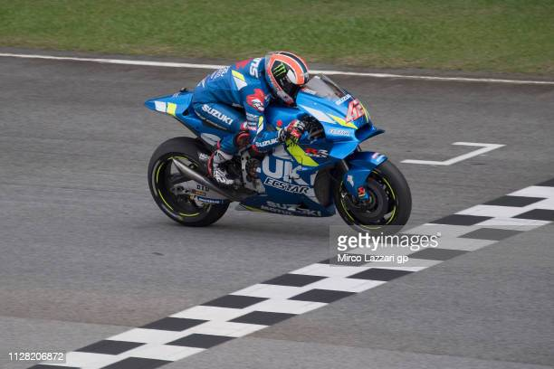 Alex Rins of Spain and Team Suzuki ECSTAR heads down a straight during the MotoGP Tests In Sepang at Sepang Circuit on February 08 2019 in Kuala...