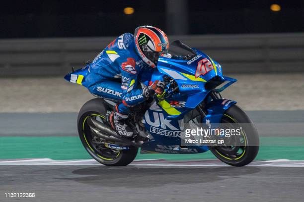 Alex Rins of Spain and Team Suzuki ECSTAR heads down a straight during the MotoGP Tests Day Three at Losail Circuit on February 25 2019 in Doha Qatar