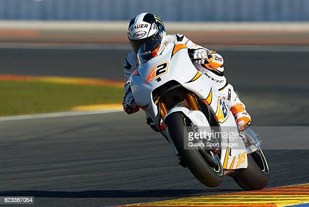 Alex Rins of Spain and Team Suzuki Ecstar heads down a straight during the MotoGP Test in Valencia at Ricardo Tormo Circuit on November 15 2016 in...