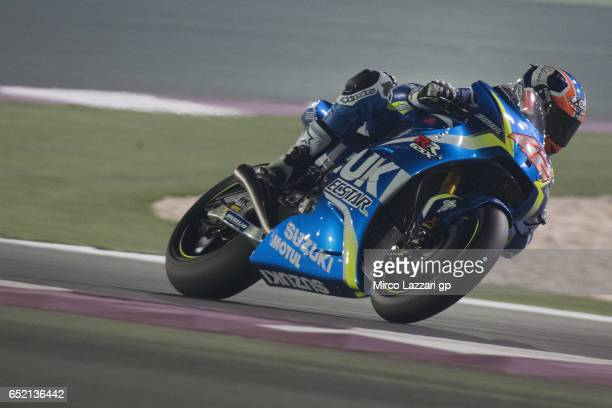 Alex Rins of Spain and Team Suzuki ECSTAR heads down a straight during the MotoGP Tests In Losail at Losail Circuit on March 11 2017 in Doha Qatar