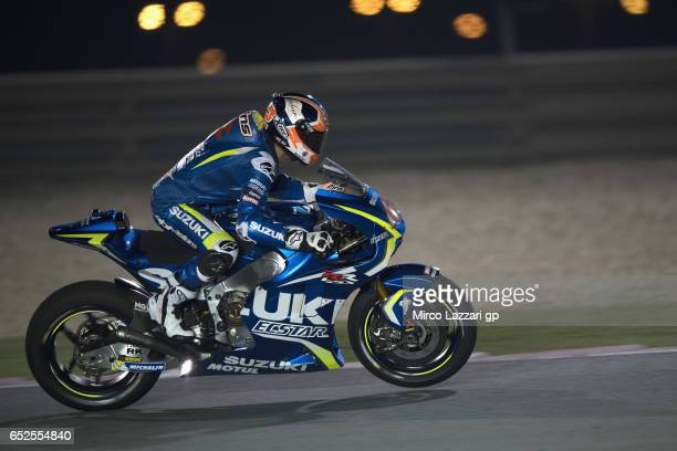 Alex Rins of Spain and Team Suzuki ECSTAR heads down a straight during the MotoGP Tests In Losail at Losail Circuit on March 12 2017 in Doha Qatar