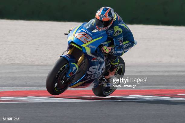 Alex Rins of Spain and Team Suzuki ECSTAR heads down a straight during the MotoGP qualifying during the MotoGP of San Marino Qualifying at Misano...