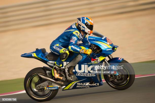 Alex Rins of Spain and Team Suzuki ECSTAR heads down a straight during the Moto GP Testing Qatar at Losail Circuit on March 2 2018 in Doha Qatar