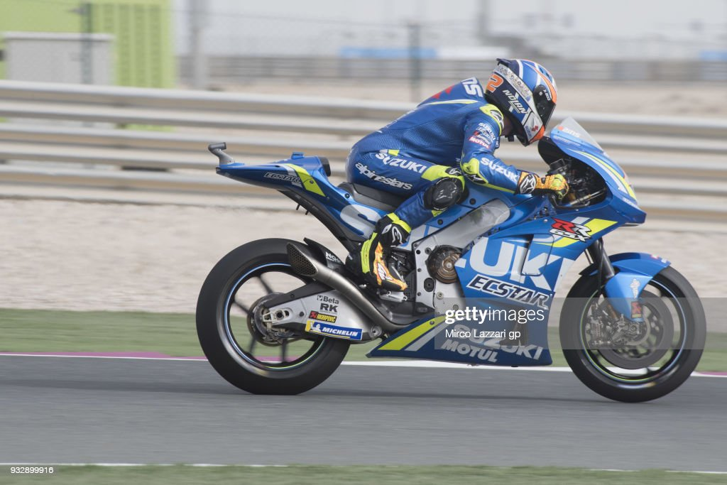 Alex Rins of Spain and Team Suzuki ECSTAR heads down a straight during the MotoGP of Qatar - Free Practice at Losail Circuit on March 16, 2018 in Doha, Qatar.
