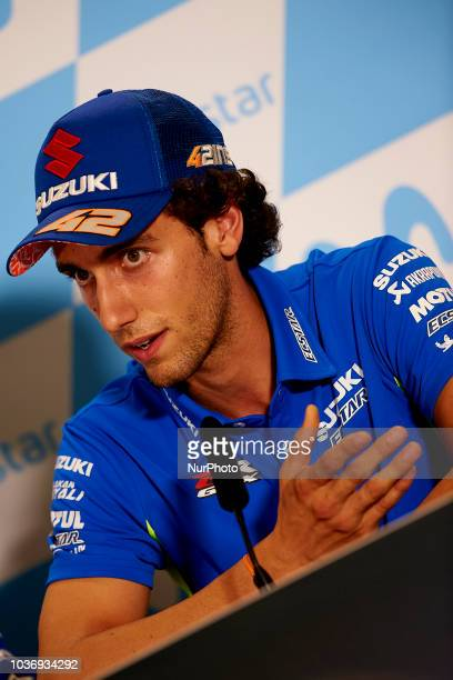 Alex Rins of Spain and Team Suzuki Ecstar in the press conference before of the Gran Premio Movistar de Aragon of world championship of MotoGP at...