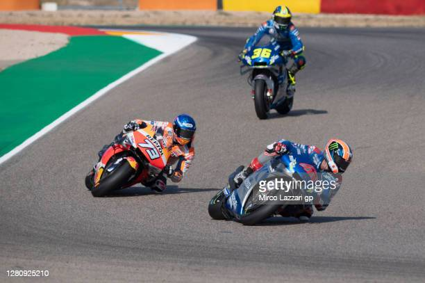 Alex Rins of Spain and Team Suzuki ECSTAR leads the field during the MotoGP race during the MotoGP of Aragon at Motorland Aragon Circuit on October...