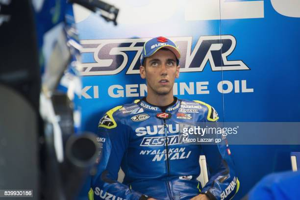 Alex Rins of Spain and Team Suzuki ECSTAR looks on in box before the MotoGP race during the MotoGp Of Great Britain Race at Silverstone Circuit on...