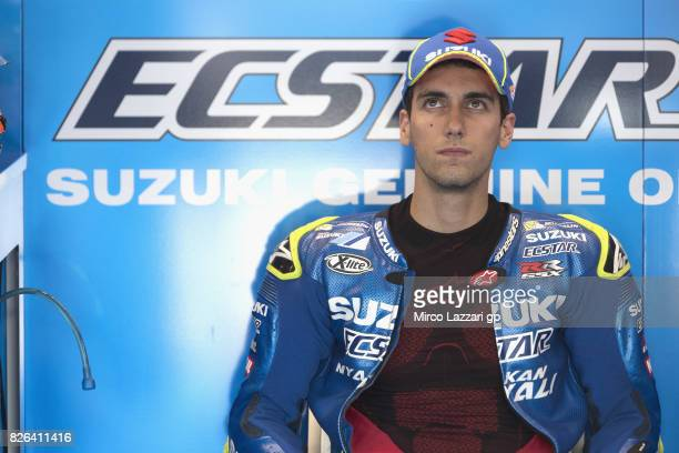 Alex Rins of Spain and Team Suzuki ECSTAR looks on in box during the MotoGp of Czech Republic Free Practice at Brno Circuit on August 4 2017 in Brno...