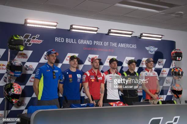 Alex Rins of Spain and Team Suzuki ECSTAR Maverick Vinales of Spain and Movistar Yamaha MotoGP Andrea Dovizioso of Italy and Ducati Team Cal...