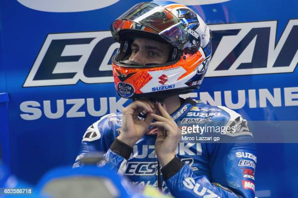 Alex Rins of Spain and Team Suzuki ECSTAR prepares to start from box during the MotoGP Tests In Losail at Losail Circuit on March 12 2017 in Doha...