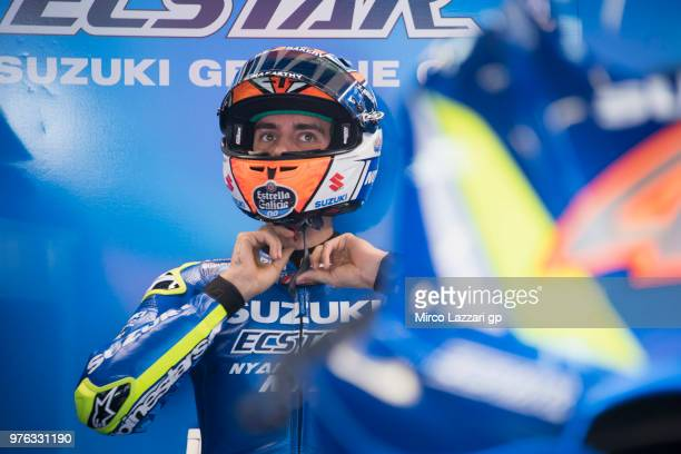 Alex Rins of Spain and Team Suzuki ECSTAR prepares to start from box during the qualifying practice during the MotoGp of Catalunya Qualifying at...