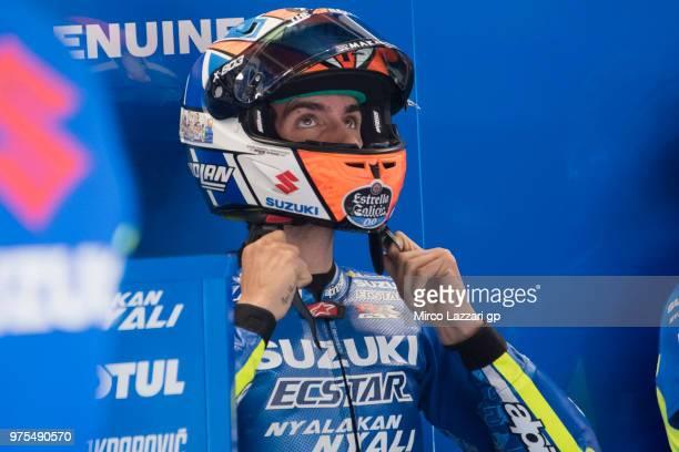 Alex Rins of Spain and Team Suzuki ECSTAR prepares to start in box during the MotoGp of Catalunya Free Practice at Circuit de Catalunya on June 15...