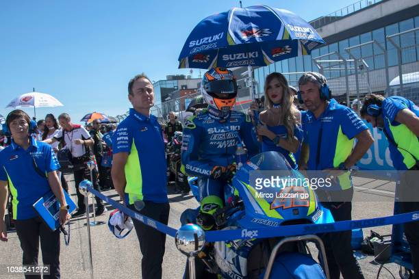 Alex Rins of Spain and Team Suzuki ECSTAR prepares to start on the grid during the MotoGP race during the MotoGP of Aragon Race at Motorland Aragon...