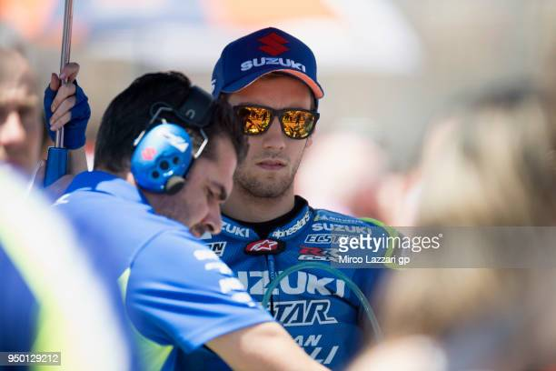 Alex Rins of Spain and Team Suzuki ECSTAR prepares to start on the grid during the MotoGP race during the MotoGp Red Bull US Grand Prix of The...