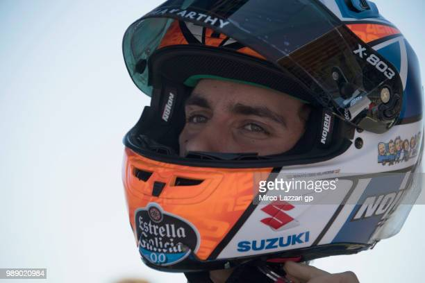 Alex Rins of Spain and Team Suzuki ECSTAR prepares to start on the grid during the MotoGp race during the MotoGP Netherlands Race on July 1 2018 in...