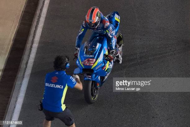 Alex Rins of Spain and Team Suzuki ECSTAR returns in box during the MotoGP Tests Day Two at Losail Circuit on February 24 2019 in Doha Qatar