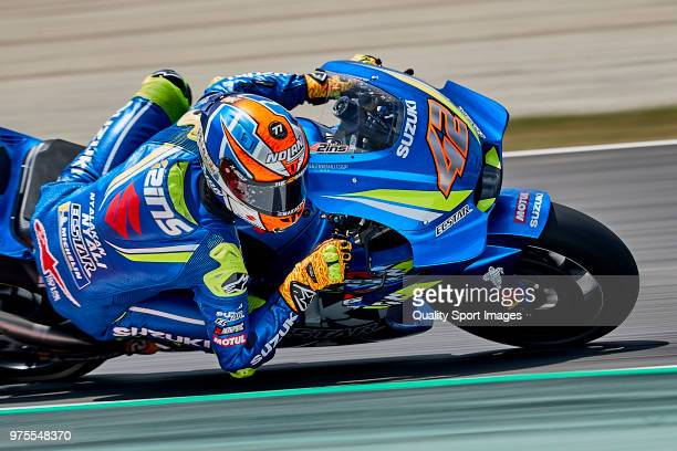 Alex Rins of Spain and Team Suzuki ECSTAR rides during free practice for the MotoGP of Catalunya at Circuit de Catalunya on June 15 2018 in Montmelo...