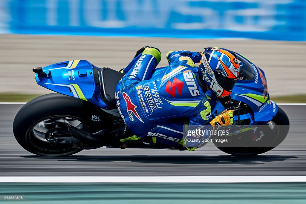 Alex Rins of Spain and Team Suzuki ECSTAR rides during free practice for the MotoGP of Catalunya at Circuit de Catalunya on June 15, 2018 in Montmelo, Spain.