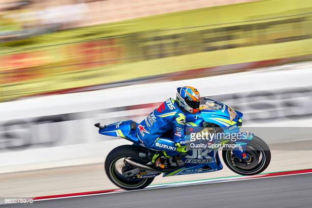 Alex Rins of Spain and Team Suzuki ECSTAR rides during free practice for the MotoGP of Catalunya at Circuit de Catalunya on at Circuit de Catalunya...