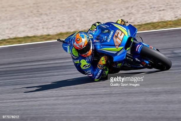Alex Rins of Spain and Team Suzuki ECSTAR rides during MotoGP free practice at Circuit de Catalunya on June 17 2018 in Montmelo Spain