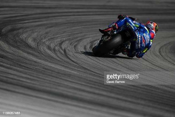 Alex Rins of Spain and Team Suzuki Ecstar rides during the third MotoGP free practice session ahead of MotoGP Gran Premi Monster Energy de Catalunya...