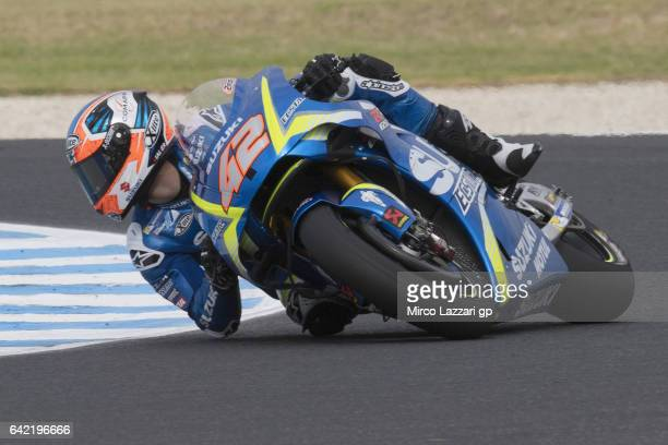 Alex Rins of Spain and Team Suzuki ECSTAR rounds the bend during 2017 MotoGP preseason testing at Phillip Island Grand Prix Circuit on February 17...