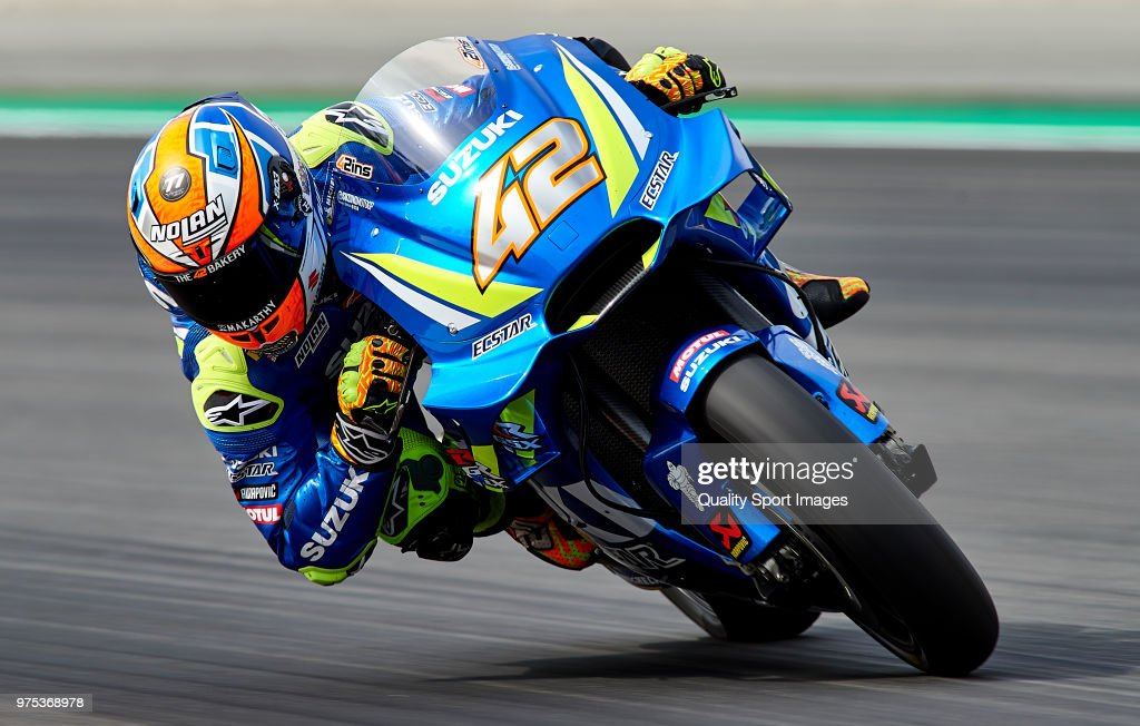 Alex Rins of Spain and Team Suzuki Ecstar rounds the bend during free practice for the MotoGP of Catalunya at Circuit de Catalunya on June 15, 2018 in Montmelo, Spain.