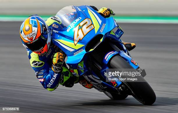 Alex Rins of Spain and Team Suzuki Ecstar rounds the bend during free practice for the MotoGP of Catalunya at Circuit de Catalunya on June 15 2018 in...