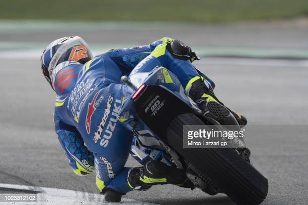 Alex Rins of Spain and Team Suzuki ECSTAR rounds the bend during the qualfying practice during the MotoGp Of Great Britain Qualifying at Silverstone...