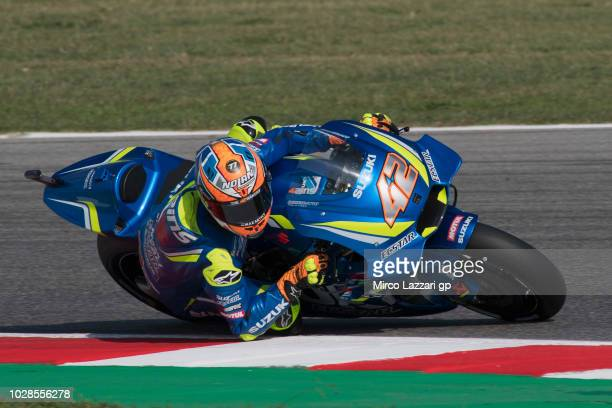 Alex Rins of Spain and Team Suzuki ECSTAR rounds the bend during the MotoGP of San Marino Free Practice at Misano World Circuit on September 7 2018...