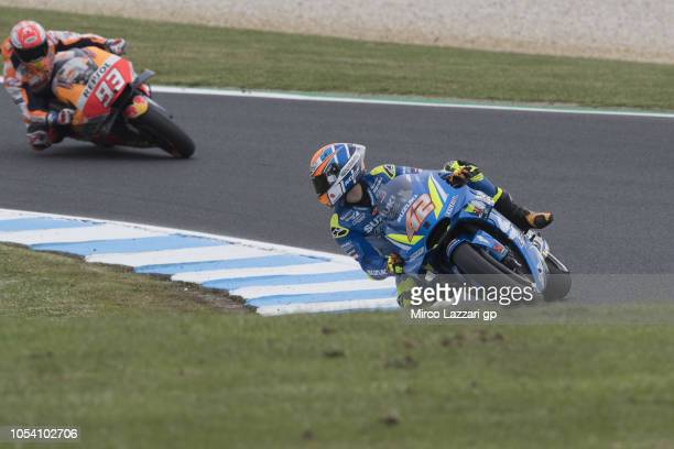 Alex Rins of Spain and Team Suzuki ECSTAR rounds the bend during the MotoGP qualifying during qualifying for the 2018 MotoGP of Australia at Phillip...