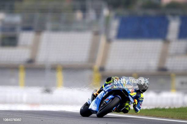 Alex Rins of Spain and Team Suzuki ECSTAR rounds the bend during the MotoGP Tests In Valencia at Ricardo Tormo Circuit on November 21 2018 in...