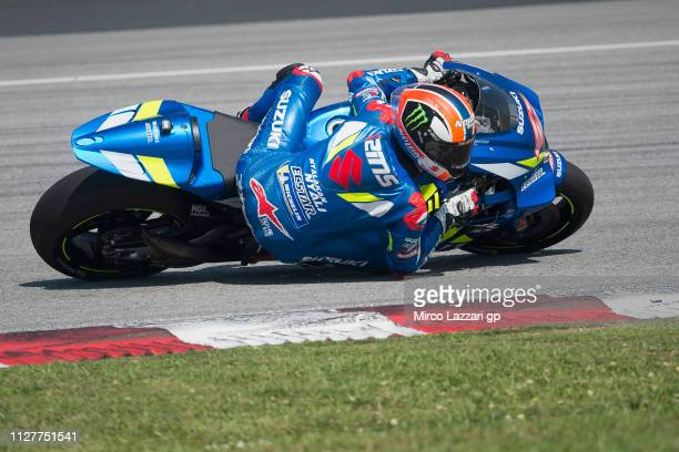 Alex Rins of Spain and Team Suzuki ECSTAR rounds the bend during the MotoGP Tests In Sepang at Sepang Circuit on February 06 2019 in Kuala Lumpur...