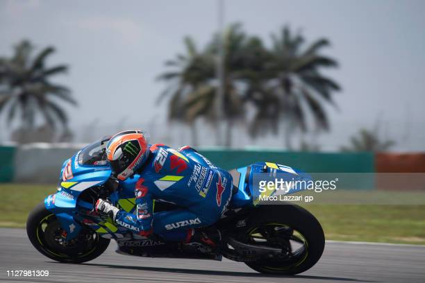 Alex Rins of Spain and Team Suzuki ECSTAR rounds the bend during the MotoGP Tests In Sepang at Sepang Circuit on February 07 2019 in Kuala Lumpur...