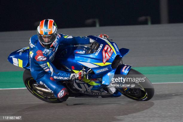 Alex Rins of Spain and Team Suzuki ECSTAR rounds the bend during the MotoGP Tests Day One at Losail Circuit on February 23 2019 in Doha Qatar