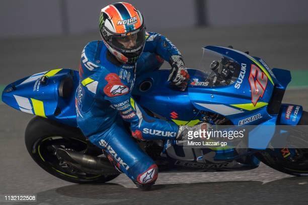 Alex Rins of Spain and Team Suzuki ECSTAR rounds the bend during the MotoGP Tests Day Three at Losail Circuit on February 25 2019 in Doha Qatar