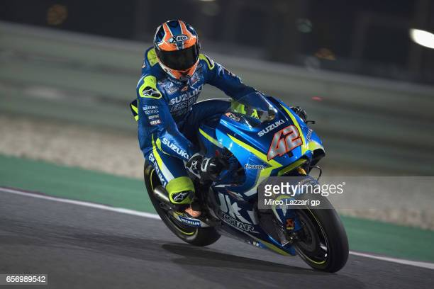 Alex Rins of Spain and Team Suzuki ECSTAR rounds the bend during the MotoGp of Qatar Free Practice at Losail Circuit on March 23 2017 in Doha Qatar