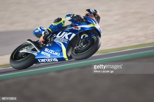 Alex Rins of Spain and Team Suzuki ECSTAR rounds the bend during the MotoGp of Qatar Free Practice at Losail Circuit on March 24 2017 in Doha Qatar