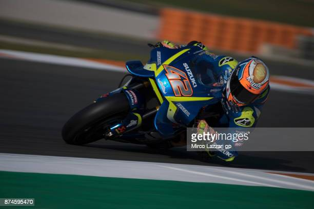 Alex Rins of Spain and Team Suzuki ECSTAR rounds the bend during the MotoGP Tests In Valencia day 2 at Comunitat Valenciana Ricardo Tormo Circuit on...