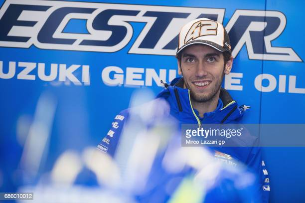 Alex Rins of Spain and Team Suzuki ECSTAR smiles and looks on in box during the MotoGp of France Qualifying on May 20 2017 in Le Mans France