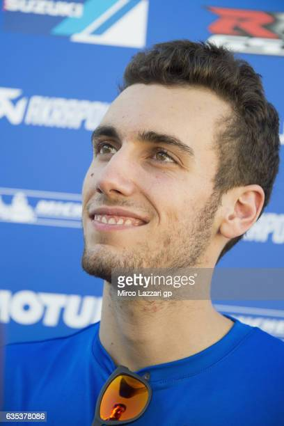 Alex Rins of Spain and Team Suzuki ECSTAR smiles with journalists during 2017 MotoGP preseason testing at Phillip Island Grand Prix Circuit on...
