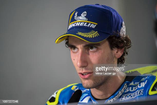 Alex Rins of Spain and Team Suzuki ECSTAR speaks during the press conference at the end of the MotoGP race during the MotoGP Of Malaysia Race at...