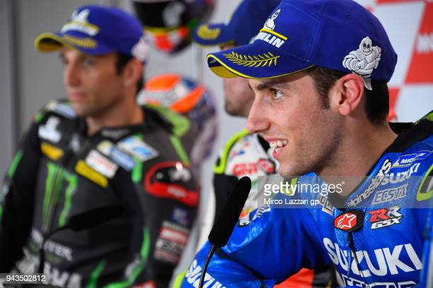 Alex Rins of Spain and Team Suzuki ECSTAR speaks during the press conference at the end of the MotoGP race during the MotoGp of Argentina Race on...