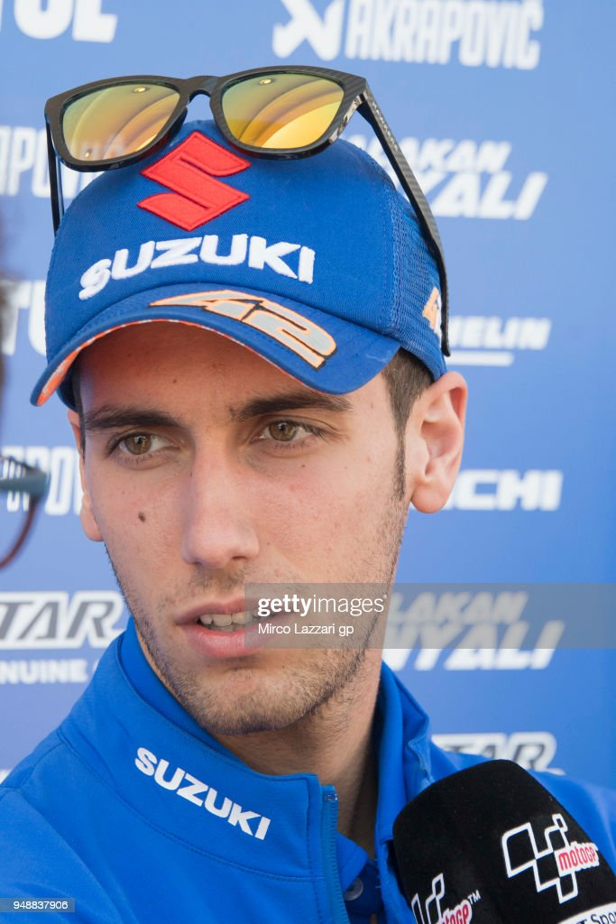 Alex Rins of Spain and Team Suzuki ECSTAR speaks with journalists in paddock during the MotoGp Red Bull U.S. Grand Prix of The Americas - Previews at Circuit of The Americas on April 19, 2018 in Austin, Texas.