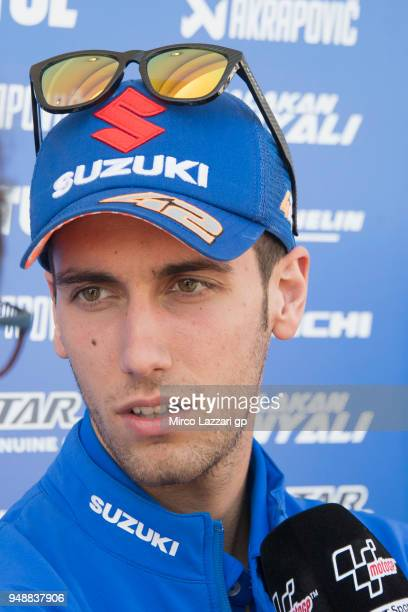 Alex Rins of Spain and Team Suzuki ECSTAR speaks with journalists in paddock during the MotoGp Red Bull US Grand Prix of The Americas Previews at...