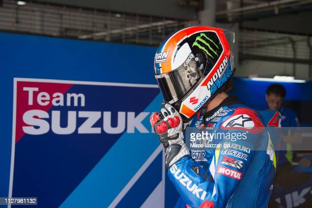 Alex Rins of Spain and Team Suzuki ECSTAR starts from box during the MotoGP Tests In Sepang at Sepang Circuit on February 07 2019 in Kuala Lumpur...