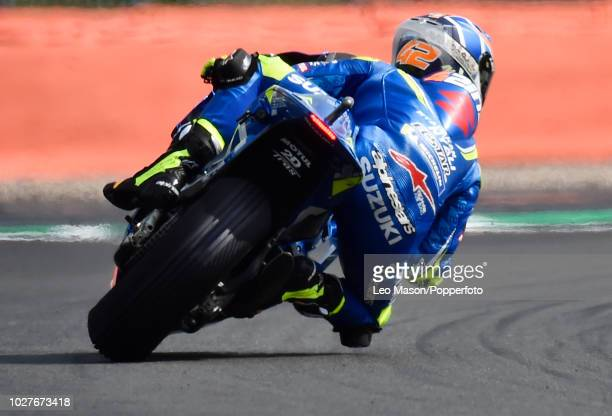 Alex Rins of Spain on his Team Suzuki Ecstar Suzuki during the qualifying session for Sundays race at Silverstone Circuit on August 25 2018 in...