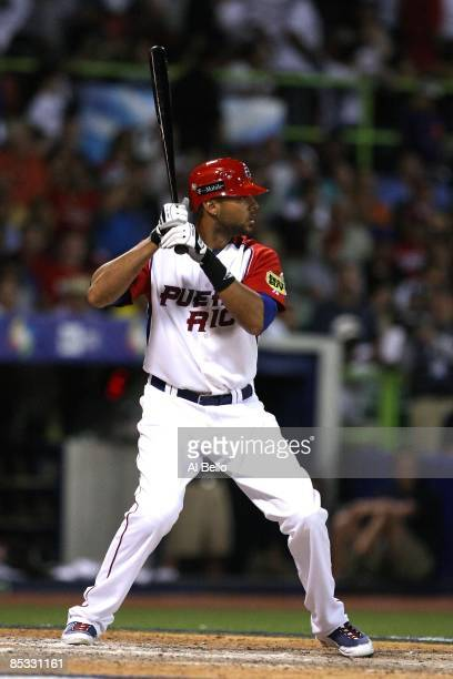 Alex Rios of Puerto Rico bats against The Netherlands during the 2009 World Baseball Classic Pool D match on March 9 2009 at Hiram Bithorn Stadium in...
